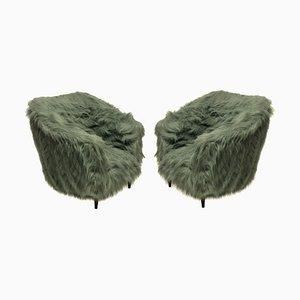 Italian Beech & Faux Fur Armchairs, 1950s, Set of 2