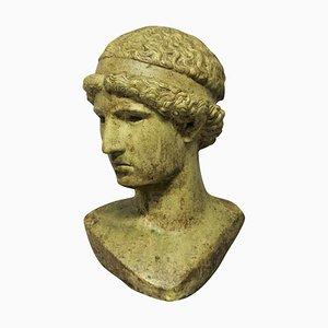 Lebensgroßer Hellenistischer Kopf aus glasiertem Stein, 1960er
