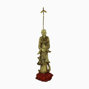 Lampada da terra Mid-Century scultorea con figura in marmo, Cina