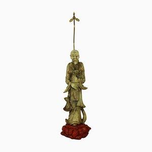 Lampadaire Sculptural Mid-Century avec Figure en Marbre, Chine