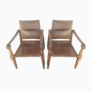 Safari Armlehnstühle aus Leder von Wilhelm Kienzle für Wohnbedarf, 1950er, 2er Set