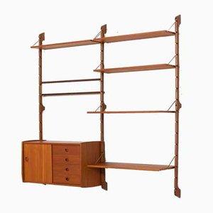 Modular Teak Ergo Wall Shelving Unit with 6 Shelves & Cabinet by John Texmon for Blindheim Møbelfabrikk, 1960s