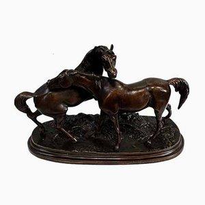 PJ. Escultura de bronce Mêne, el aclamade o grupo de caballos árabes, siglo XIX