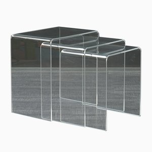 Nesting Tables in Plexiglass, 1970s, Set of 3