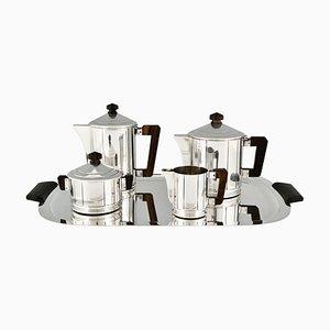Versilbertes Art Deco Tee- und Kaffeeservice von Ercuis, 5er Set