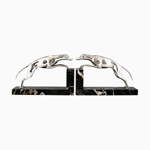 Art Deco Silvered Bronze Greyhound Bookends by Georges Gori, Set of 2