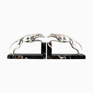 Serre-Livres Greyhound Art Déco en Bronze Argenté par Georges Gori, Set de 2