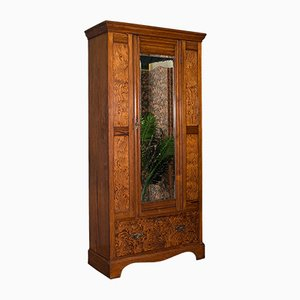 Antique English Victorian Pitch Pine Wardrobe with Dressing Mirror, 1900