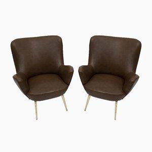 Italienische Mid-Century Modern Armlehnstühle, 1950er, 2er Set