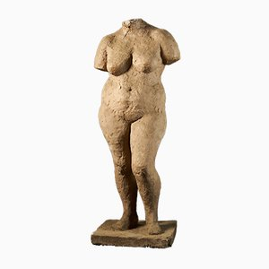 Statue of Standing Naked Woman in Plaster by Françoise Rival, 20th Century