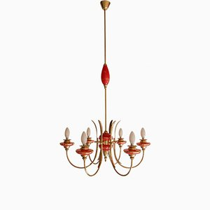 Mid-Century Italian Red Murano Glass Chandelier in the Style of Gio Ponti, 1950s