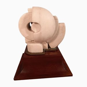 White Marble & Brass Candolia Sculpture with Wooden Base by Peter Cascella