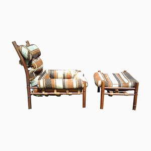 Inca Armchair with Ottoman by Arne Norell for Arne Norell AB, Sweden, 1960s