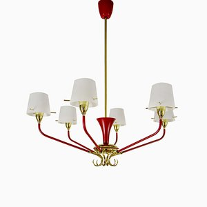 Lustre à 6 Lampes Mid-Century Rouge et Doré de Stilnovo, Italie, 1950s
