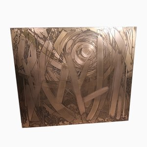 Dekoratives Kupfertäfelchen von Victor Cerrato, 1970er