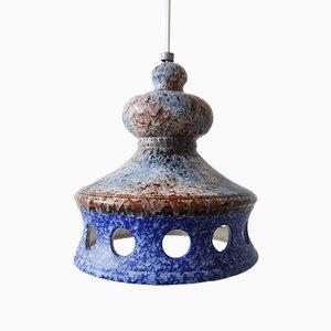 Blaue Keramik Hängelampe von Aka Electric, Deutschland, 1970er