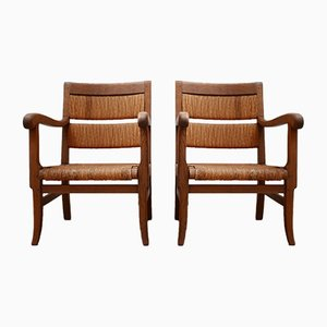 Mid-Century French Rush Armchairs, Set of 2
