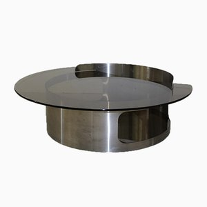 Coffee Table in Brushed Stainless Steel and Smoked Glass, 1970s