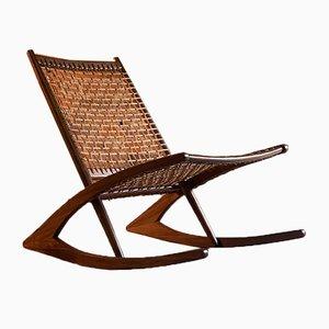 Norwegian Teak & Rosewood Model 599 Rocking Chair by Frederik Kayser for Vatne Møbler, 1960s