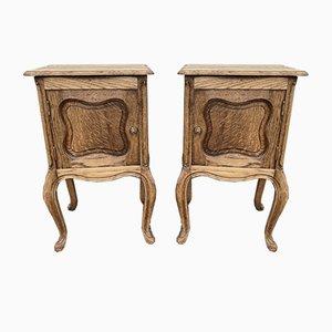 French Bleached Oak Bedside Cupboards, Set of 2