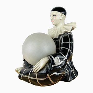 Vintage French Ceramic Pierrot Table Lamp from Regal 1960s