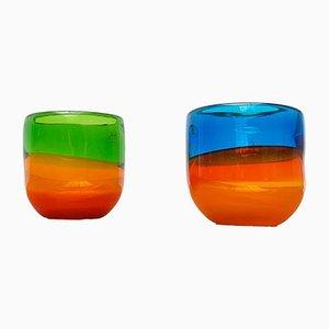 Bunte Deutsche Vintage Glasschalen von Eisch, 2er Set