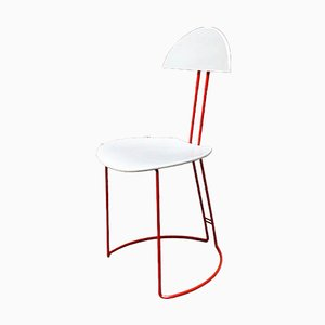 Mid-Century Modern Italian Red and White Metal Chair, 1980s