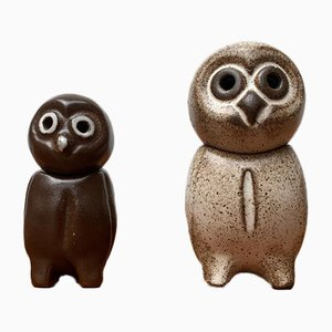Mid-Century German Bauhaus Pottery Owl Sculptures by Heiner Hans Körting, Set of 2