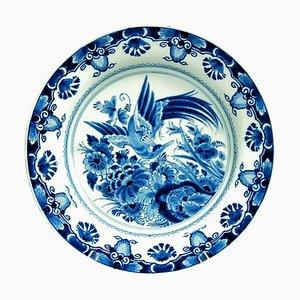 Piatto da caricatore in porcellana blu cobalto Faïence, Francia, secolo di Royal Delft