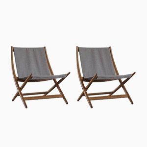 Danish Modern Folding Chairs in Oak and Canvas by Johan Hagen, 1958, Set of 2