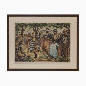 Kerels Henry, Kongo Indigenous Market, Etched and Colored Epreuve d'artiste, Framed and Signed