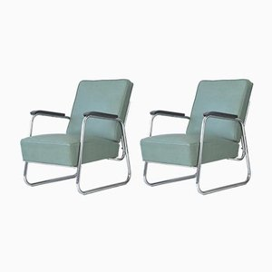 Steel Tube Armchairs from Drabert, Germany, 1955, Set of 2