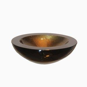 Schwarz-Goldene Glasschale von Seguso, 1988