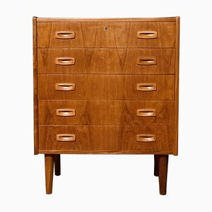 Tall Mid-Century Danish Teak Chest of Drawers with 5 Drawers