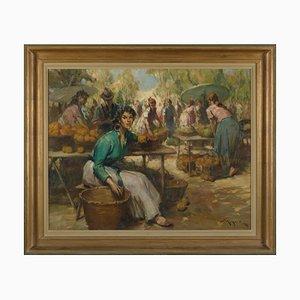 Richard Durando-Togo, Frauen auf dem Markt, Öl auf Leinwand