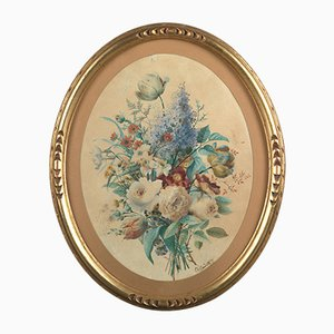 Charles Gaudelet (Lille, 1817 - Lille, 1870), Flower Composition in an Oval, 1859, Watercolor
