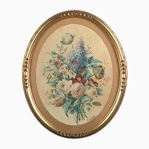 Charles Gaudelet (Lille, 1817 - Lille, 1870), Ovale Blumen Komposition, 1859, Aquarell