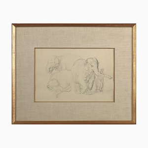 Lithograph with Three Studies of an Elephant by Rembrandt Van Rijn