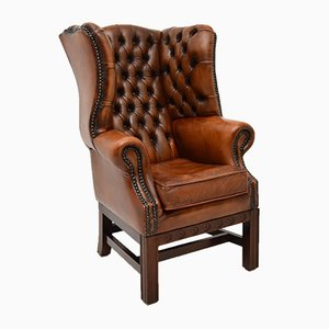 Child-Size Antique Leather & Mahogany Wing Back Armchair