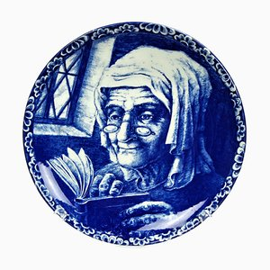 Vintage Decorative La Louviere Boch Delft Blue Plate from Villeroy & Boch