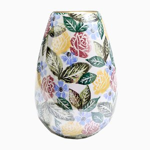 Mid-Century Painted Porcelain Flower Vase by Bassano, Italy