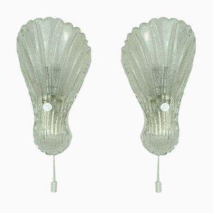 Mid-Century Muschel Wandlampen aus Milchglas von Fischer, 1970er, 2er Set