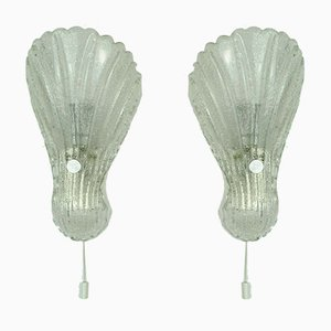 Mid-Century Shell Wall Lamps in Frosted Glass from Fischer, 1970s, Set of 2
