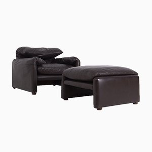 Lounge Chair and Ottoman in Leather by Vico Magistretti for Cassina