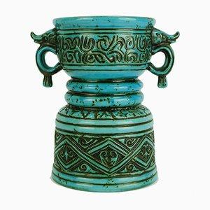 Mid-Century Modell No. 5065 21 Vase mit doppeltem Griff und Abstraktem Dekor von Jasba