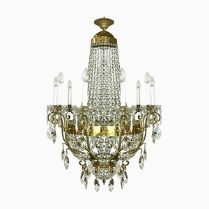 Gilded Bronze and Crystal Chandelier