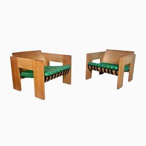 Brutalist Oak Easy Chairs, 1960s, Set of 2