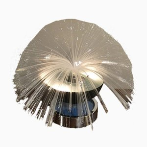 Fiber Optic Lamp in Glass and Steel, Italy, 1970s