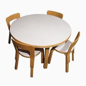 Model 66 Children's Dining Chairs & Model 91L Table in Patinated Birch by Alvar Aalto for Artek, 1970s