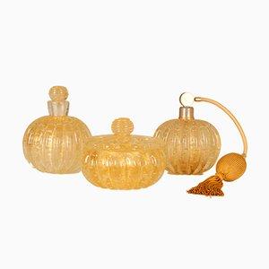 Bouteilles de Parfum et Bol à Poudre Mid-Century en Verre Murano par Ercole Barovier pour Barovier & Toso, 1960s, Set de 3